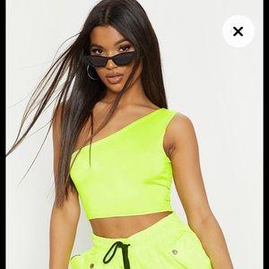 Neon green one shoulder top